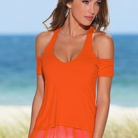 Orange (OR) Layered Cold Shoulder Top