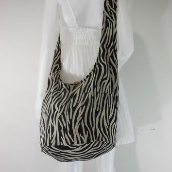 black Cotton Printed Standing Zebra Crossbody Shoulder Hippie Boho Hobo Messenger Sling Yaam Bag E-PT01