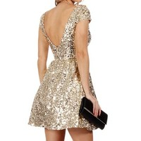 Pre-Order: Jazzy-Gold Sequin Prom Dress