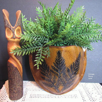 Vintage Wall Pocket Vase, Handmade Ceramic Pottery, Studio Pottery, Nature Theme, Wall Hanging