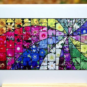 Garden Swirl Mosaic 6x8 inch ceramic tile, floral trivet, brightly colored all occasion gift for anyone, gift for gardener