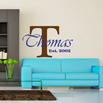 Personalized Family Name Decal Family Monogram Family Established Date Vinyl Wall Decal - Family Decor Custom Family Wall Decal V982