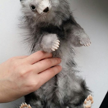 Realistic toy ferret umeest stand, sit, lie down. Feet, tail and head move. Soft toy. Artificial fur. 100% handmade