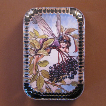 Autumn Elderberry Flower Fairy Heirloom Rectangle Glass Paperweight Cicely Mary Barker Home Decor