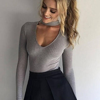 Womens Choker Neck Ribbed Strectchy Bodysuit Sweater +Free Gift Necklace