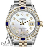 Rolex 36mm Datejust Watch White MOP Dial with Sapphire & Diamond Bezel Watch