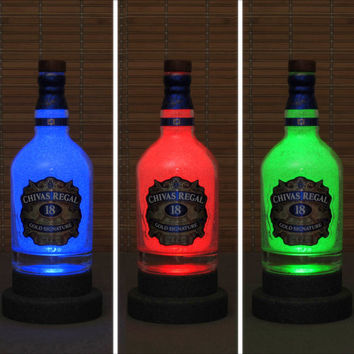 Chivas Regal 18 yr old Whiskey Color Change Bottle Lamp Light LED Remote Bar Sign Bodacious Bottles
