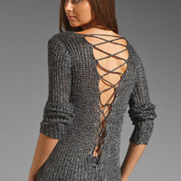 Ash-Rain-Oak Eden Lace-Up Back Sweater in Silver/Black from REVOLVEclothing.com