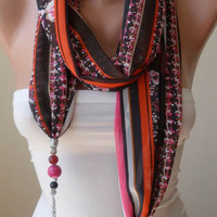 Scarf Necklace - Jewelry Scarf - Golden Colors - Pink and Orange - Trendy - Fashion