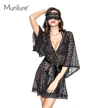Munllure Black transparent lace lacing sleepwear nightgown romantic sexy butterfly sleeve luxury robe