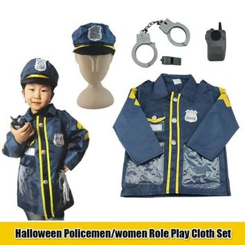 DCCKH6B Children Police Officer Patrol Cop Cosplay Costume Fancy Halloween Performance Clothes Outfits For Kids Gifts C2