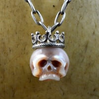 READY TO SHIP - Hand Carved Pink Skull Wearing Sterling Silver Crown Necklace - Gift for Her - Unique Gift- Holiday Jewelry - Pearl Necklace
