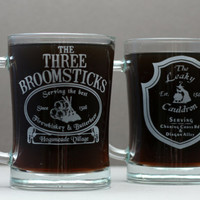 The Three Broomsticks and Leaky Cauldron Beer Stein Mug 2 pack! Harry Potter Inspired etched Pint Glass, hogsmeade village,harry potter gift
