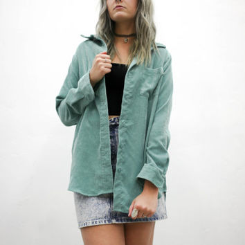vtg 90's seafoam green corduroy button down blouse, blue long sleeve shirt, 1990s ironic tumblr soft grunge vaporwave aesthetic fashion