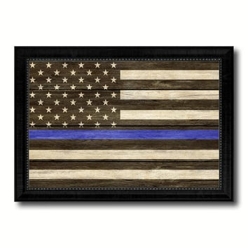 Thin Blue Line Honoring our Men and Women of Law Enforcement American Police USA Flag Texture Canvas Print with Black Picture Frame Gift Ideas Home Decor Wall Art