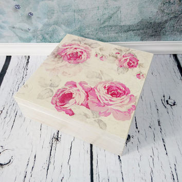 READY TO SHIP Declicate pink roses white tea box jewelry box 9 compartments elegant gift idea for her romantic pastel flowers