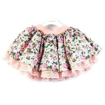 New Girls Mini Skirts Floral Lace Tutu Skirts Baby Flower Princess Party Skirt