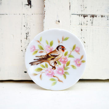 Vintage Limoges Miniature Plate with Bird Design, pretty, pink, white, green, tiny plate, little, small, mini, collectables, made in France