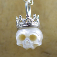 Carved Skull Pearl Wearing Sterling Silver Crown on Sterling Silver Chain, Handmade Necklace - Carved Pearl Jewelry - Halloween Necklace