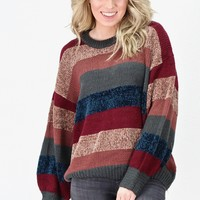 Chunky Knit Striped Sweater {Charcoal Mix}