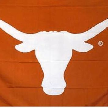 Texas Longhorns: Orange Background White Longhorn Flag; 3'x5'