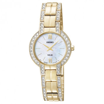 Seiko SUP200 Women's Solar MOP Dial Gold Plated Steel Bracelet Watch