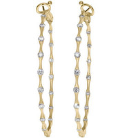 14k Yellow Gold In & Out Diamond Hoop Earrings, All Sizes