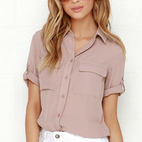 Best of Friends Mauve Button-Up Top