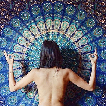 CHRISTMAS GIFT Hippy Boho Yoga Meditation Mandala Tapestry Wall Hanging Throw Cotton  Bedspread Beach Spread Bed Spread Picnic Spread
