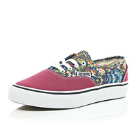 River Island Womens Pink Hype floral canvas sneakers