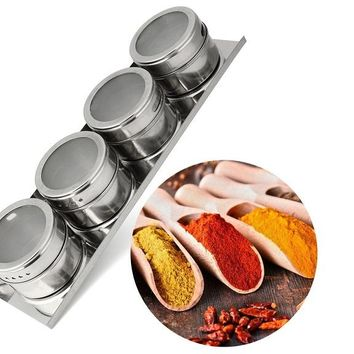 4PCS Stainless Steel Storage Bottle Magnetic Spice Storage Jar