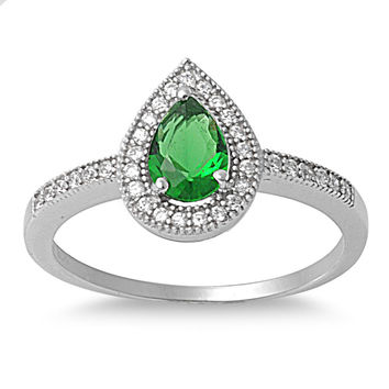 925 Sterling Silver CZ Embraced Tear Drop Simulated Emerald Ring 7MM