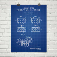 1964  Lego Toy Building Element Patent Wall Art Poster, Home Decor, Gift Idea