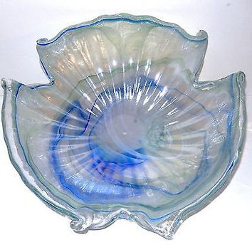 Hand Blown Art Glass Bowl Dish Swirl Iridescent Lavender Blue 17in LARGE