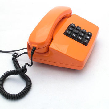 Vintage orange telephone 80s -  made in Germany