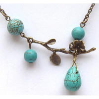 Antiqued Brass Branch Turquoise Necklace by gemandmetal on Etsy