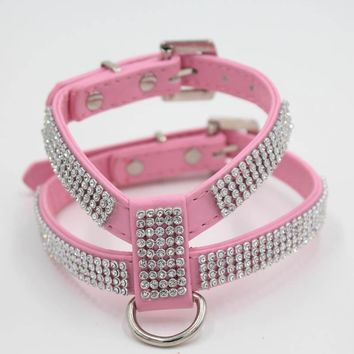 Adjustable Bling Dog Harness Pet Dogs Collar Harness Vest for Chihuahua Small Medium Dogs Chest Strap Leash for Walk