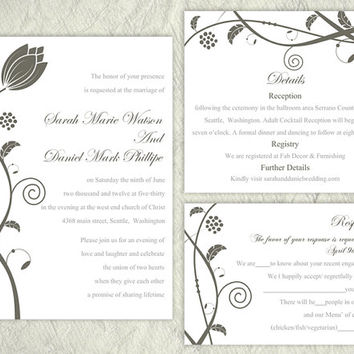 DIY Wedding Invitation Template Set Editable Word File Instant Download Printable Gray Wedding Invitation Flower Invitation Black Invitation