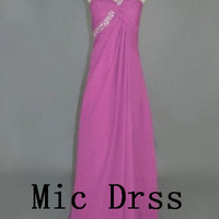 High Quality/Custom made /One-shoulder/Sleeveless/Beading/chiffon/Long prom/Evening/Party/Homecoming/cocktail /Bridesmaid/Formal Dress