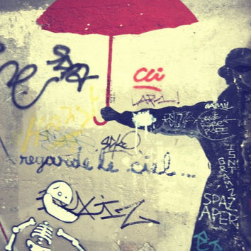 Paris Graffiti Photos Red Umbrella and Man  Paris France  8x10  French Home Decor, Wall Art, Graffiti Art