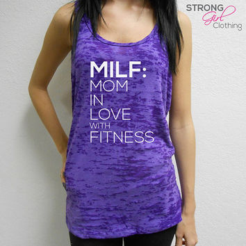 MILF Tank Top. Mom In Love with Fitness Tank. Milf Shirt. Burnout Workout Tank. Cross Training Tank. Racerback Tank. Gym Tank. Fit Mom Tank