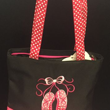 Sassi Girl's Dance Bag with pink polka dot ballet shoes