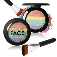 Rainbow Powder Highlighter with Brush