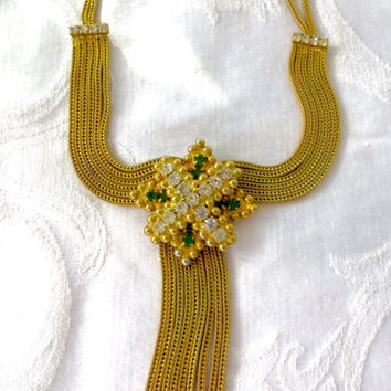 Hobe Mesh Bib Necklace, Rhinestone Maltese Cross, Drippy Tassels, Vintage Designer Signed Jewelry