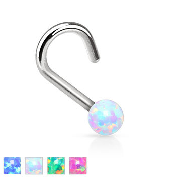 "Nose Ring Fire Opal Nose Jewelry 20ga 1/4"" Body Jewelry Piercing Jewelry"