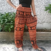 Orange Elephant Print Trousers Yoga Pants Hippie Baggy Boho chic Fashion Style Clothing Rayon Gypsy Tribal Clothes Beach Summer pattern