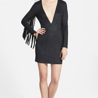 Women's Missguided Plunging Faux Suede Dress with Fringe Sleeves