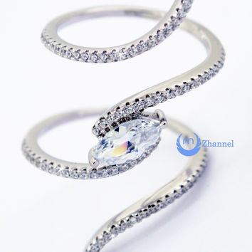 Spiral Fashion Ring PAMELA Signity CZ Pave/Prong Set Rhodium over Sterling Silver