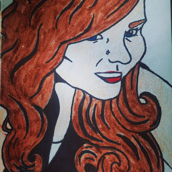 Beautiful Custom Portrait- cartoon~ One person~ Solid color background~ Size options~