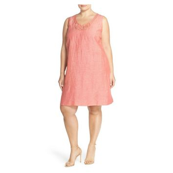 NIC+ZOE Jetset Linen Blend Shift Pink Dress-Plus Size, Size 3X
